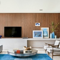 Living room: wood and blue